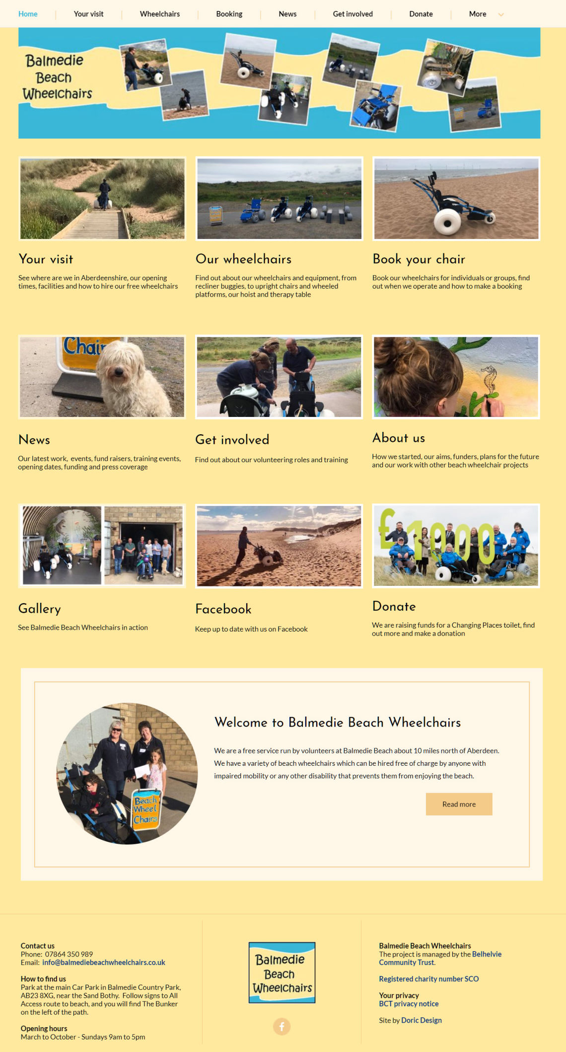 Homepage of the Balmedie Beach Wheelchair project