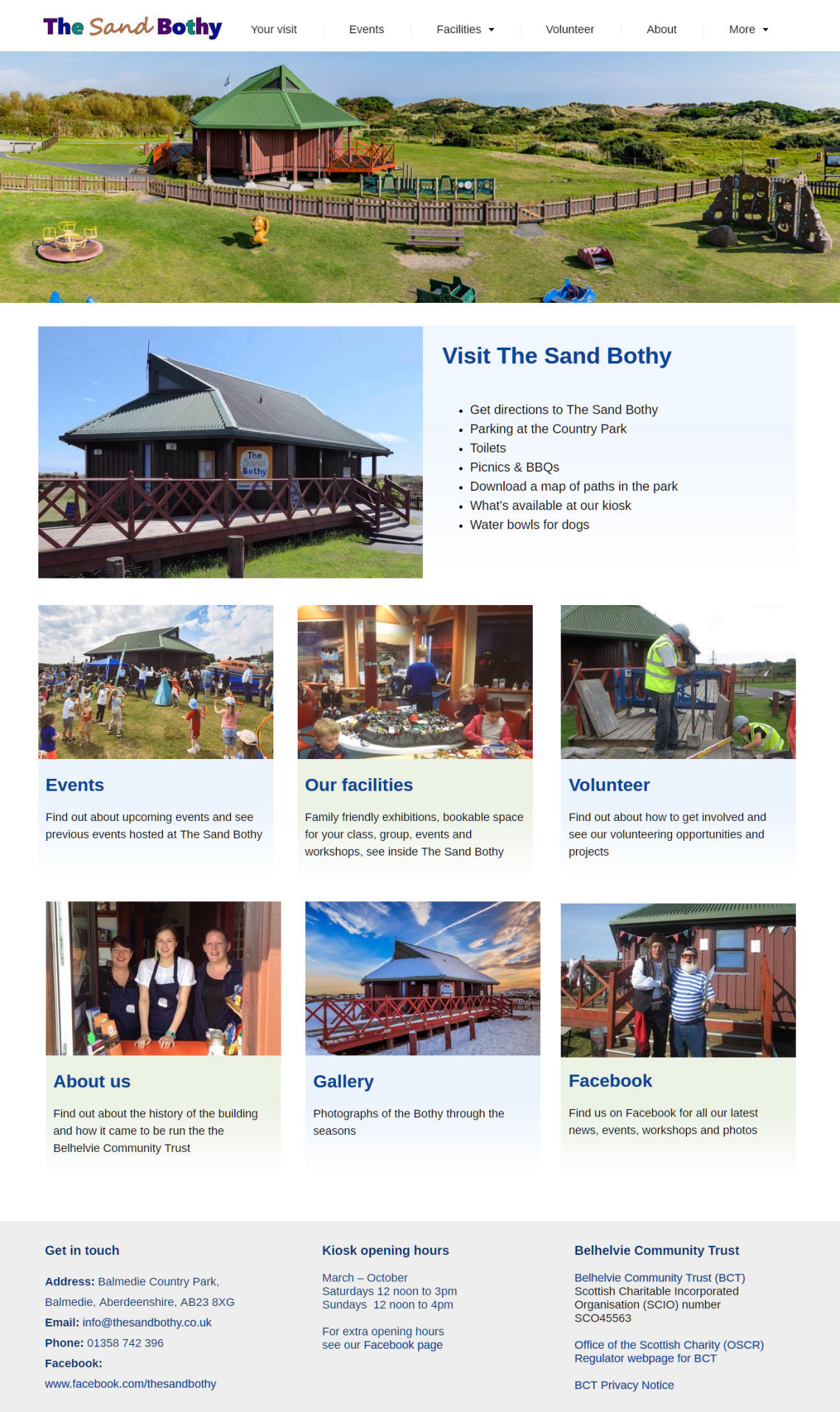 Homepage of The Sand Bothy website created by Doric Design