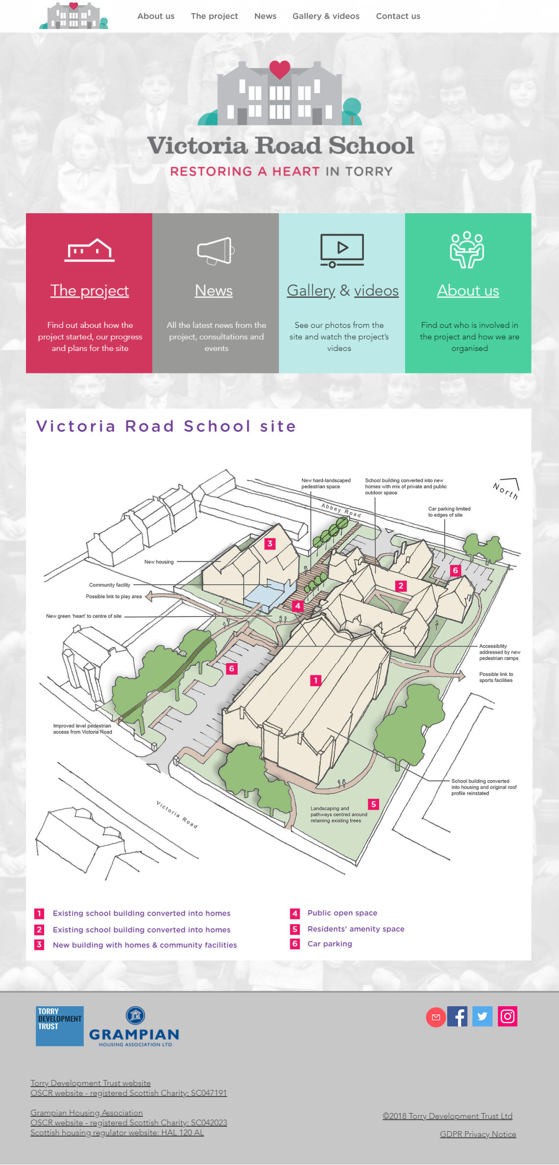 Homepage of the Victoria Road School regeneration project website extended by Doric Design